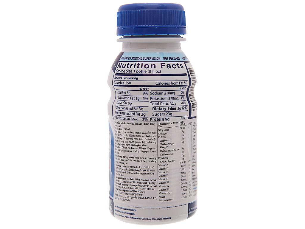 Sữa bột pha sẵn Ensure Original vani chai 237ml 3