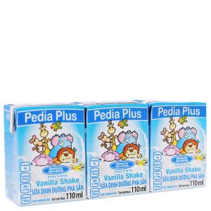 Lốc 3 hộp sữa dinh dưỡng pha sẵn NutiFood Pedia Plus vani 110ml
