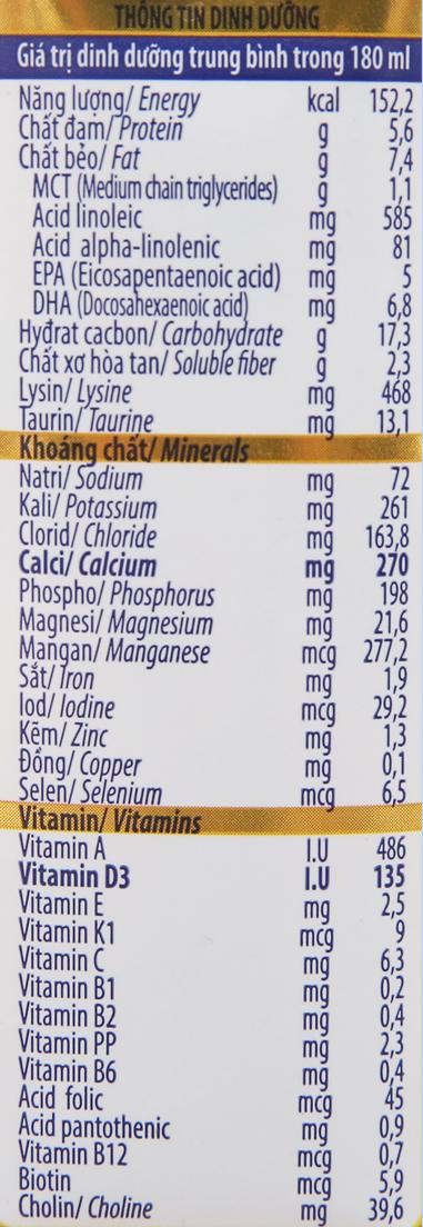 Sữa bột pha sẵn Dielac Grow có đường 180ml 6