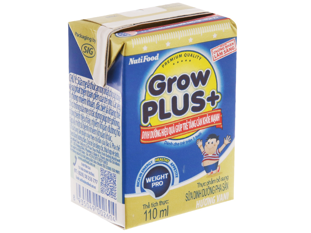 Sữa bột pha sẵn NutiFood Grow Plus+ vani 110ml 2