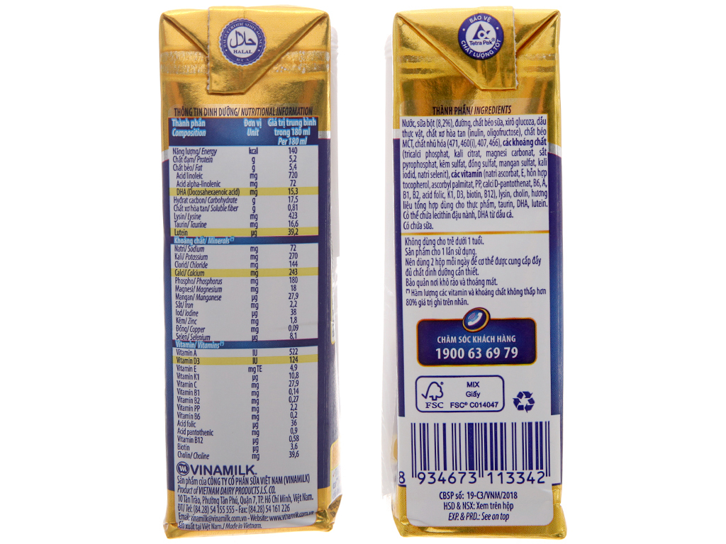 Lốc 4 hộp sữa bột pha sẵn Dielac Alpha Gold IQ 180ml 5