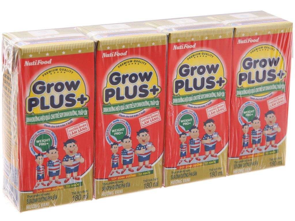 Lốc 4 hộp sữa bột pha sẵn NutiFood Grow Plus+ suy dinh dưỡng, thấp còi vani 180ml 1