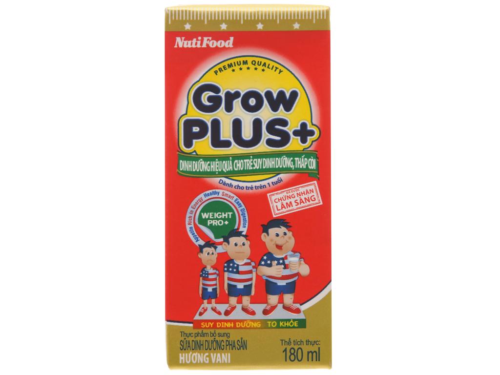 Lốc 4 hộp sữa bột pha sẵn NutiFood Grow Plus+ suy dinh dưỡng, thấp còi vani 180ml 2