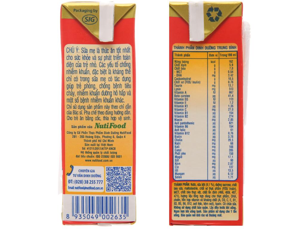 Lốc 4 hộp sữa bột pha sẵn NutiFood Grow Plus+ suy dinh dưỡng, thấp còi vani 180ml 4