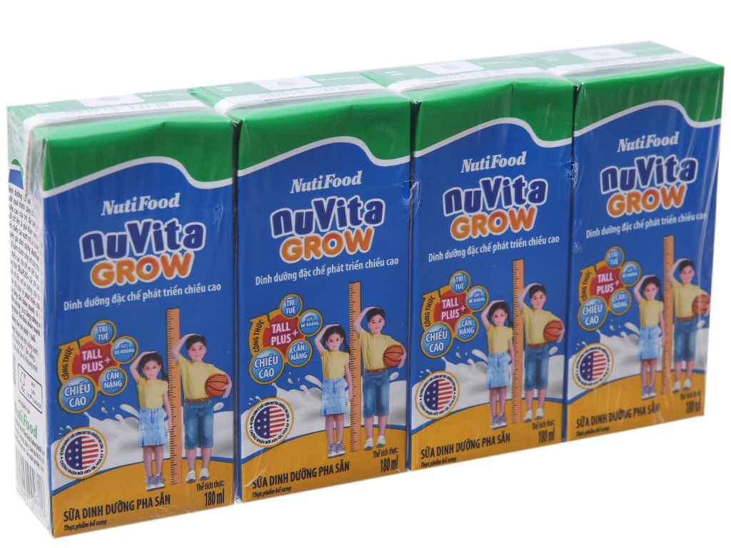 Lốc 4 hộp sữa bột pha sẵn NutiFood Nuvita Grow 180ml 2