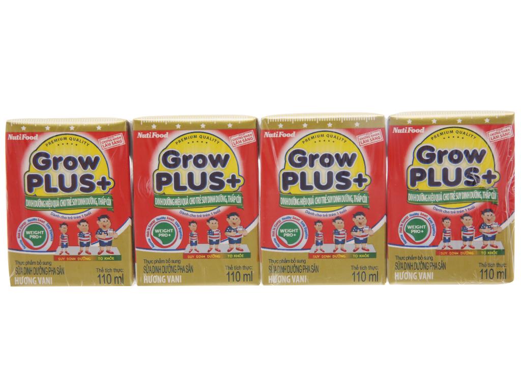 Lốc 4 hộp sữa dinh dưỡng pha sẵn NutiFood Grow Plus+ vani 110ml (cho trẻ suy dinh dưỡng, thấp còi) 2
