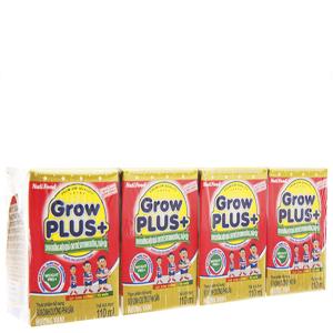 Lốc 4 hộp sữa bột pha sẵn NutiFood Grow Plus+ vani 110ml
