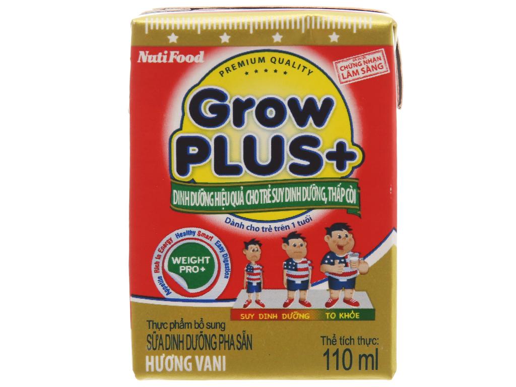 Lốc 4 hộp sữa bột pha sẵn NutiFood Grow Plus+ suy dinh dưỡng, thấp còi vani 110ml 2