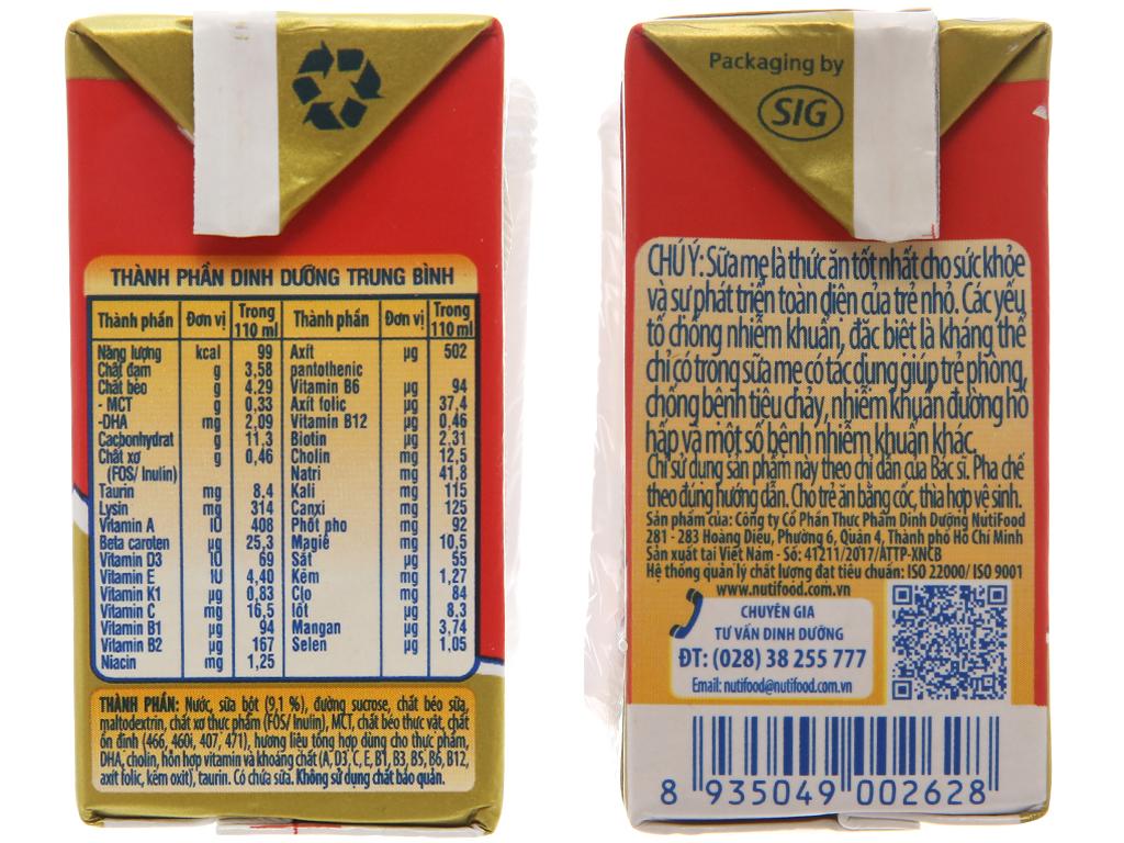 Lốc 4 hộp sữa bột pha sẵn NutiFood Grow Plus+ suy dinh dưỡng, thấp còi vani 110ml 4