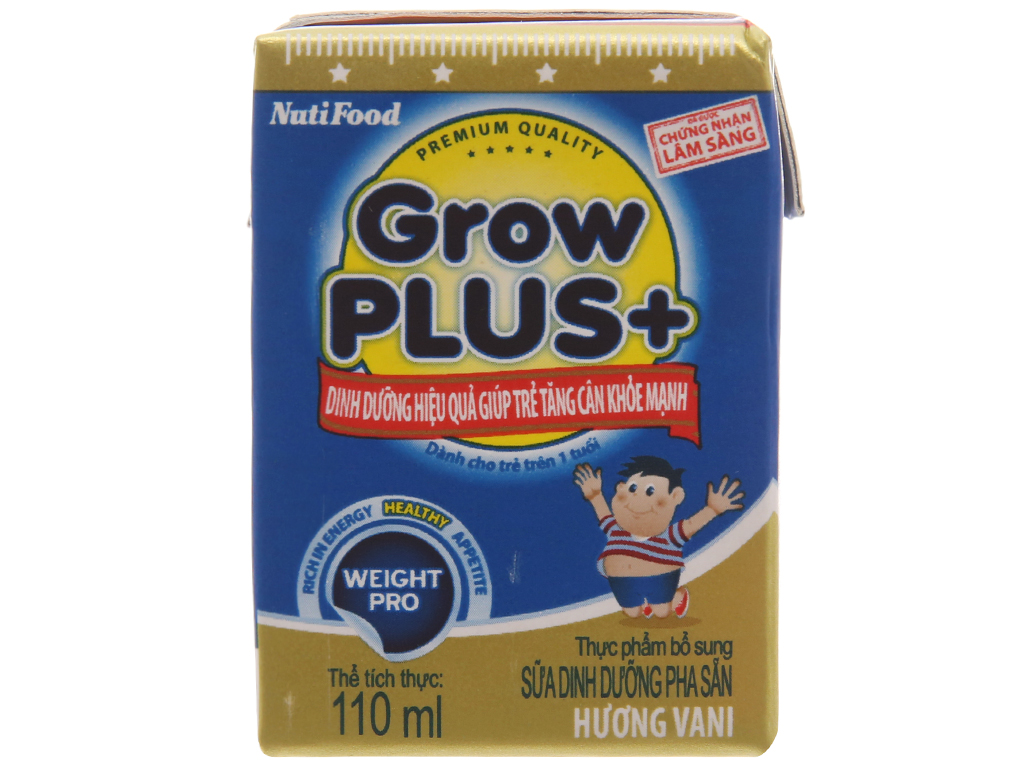 Lốc 4 hộp sữa bột pha sẵn NutiFood Grow Plus + tăng cân khỏe mạnh vani 110ml 3