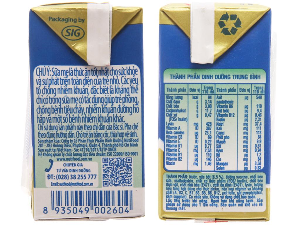 Lốc 4 hộp sữa bột pha sẵn NutiFood Grow Plus + tăng cân khỏe mạnh vani 110ml 5