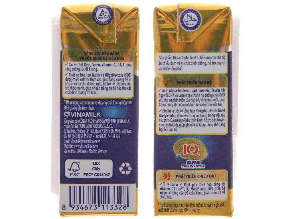 Lốc 4 hộp sữa uống dinh dưỡng Dielac Alpha Gold IQ 110ml 5