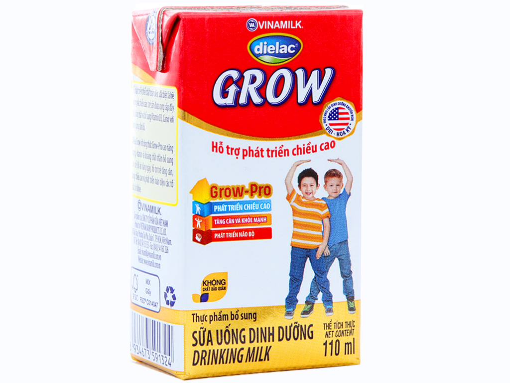 Lốc 4 hộp sữa bột pha sẵn Dielac Grow 110ml 2