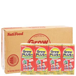 Thùng 48 hộp sữa bột pha sẵn NutiFood Grow Plus+ suy dinh dưỡng, thấp còi vani 180ml