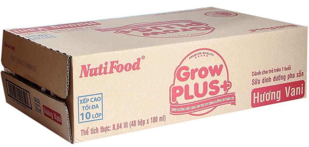 Sữa nguyên chất GrowPlus+ hương Vani 180ml( thùng 48 hộp)