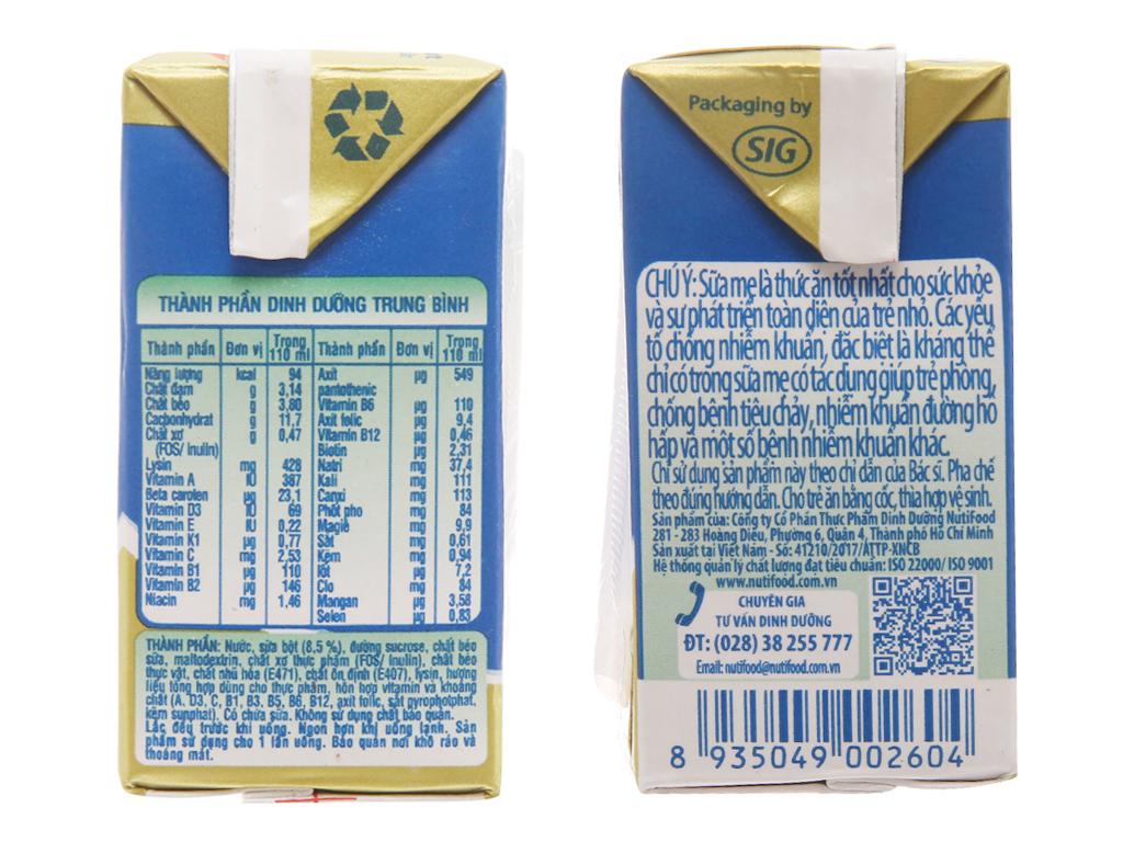 Thùng 48 hộp sữa bột pha sẵn NutiFood Grow Plus + tăng cân khỏe mạnh 110ml 5