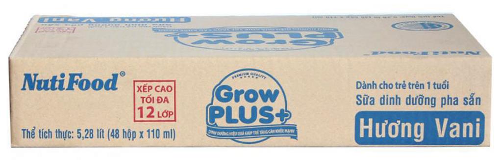 Sữa dinh dưỡng Grow Plus+ hương Vani hộp 110ml(thùng 48 hộp) 1