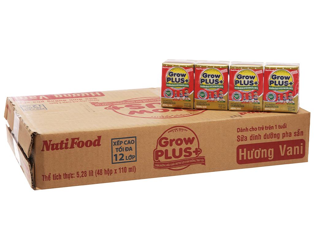 Thùng 48 hộp sữa bột pha sẵn NutiFood Grow Plus+ suy dinh dưỡng, thấp còi vani 110ml 2