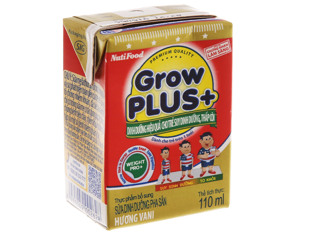Thùng 48 hộp sữa bột pha sẵn NutiFood Grow Plus+ suy dinh dưỡng, thấp còi vani 110ml 3