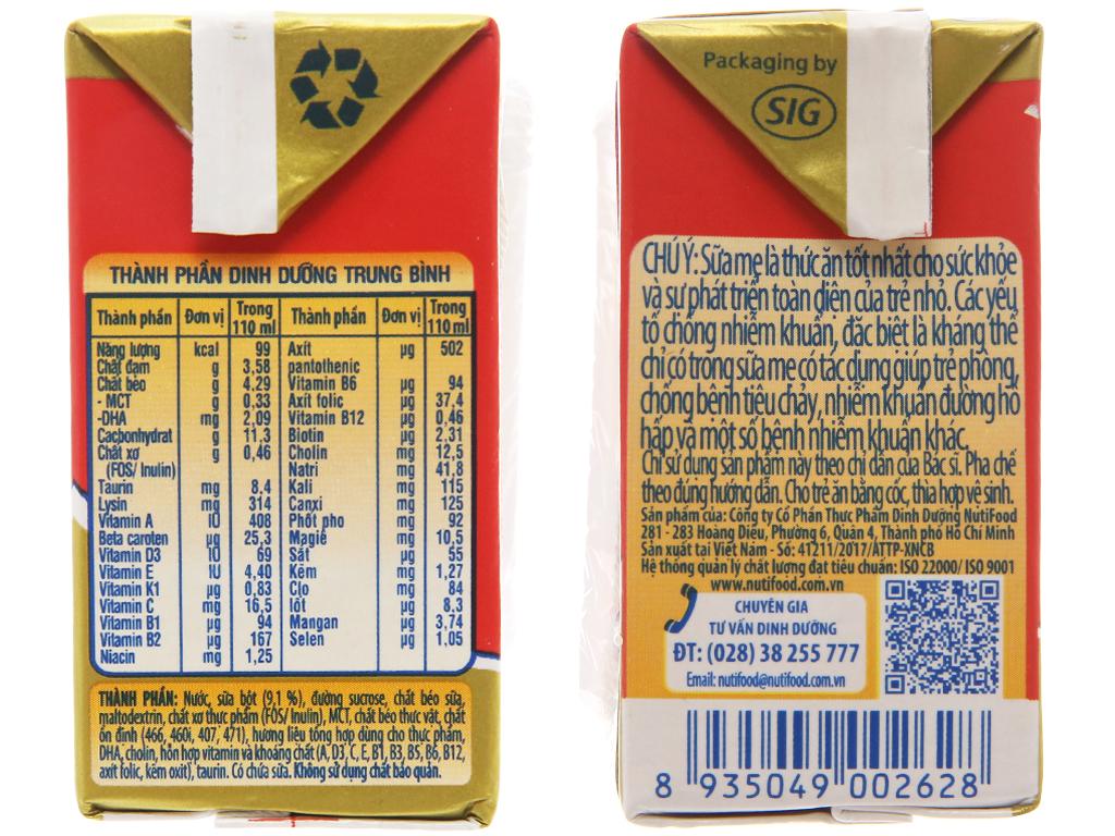 Thùng 48 hộp sữa bột pha sẵn NutiFood Grow Plus+ suy dinh dưỡng, thấp còi vani 110ml 5