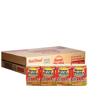 Thùng 48 hộp sữa bột pha sẵn NutiFood Grow Plus+ vani 110ml