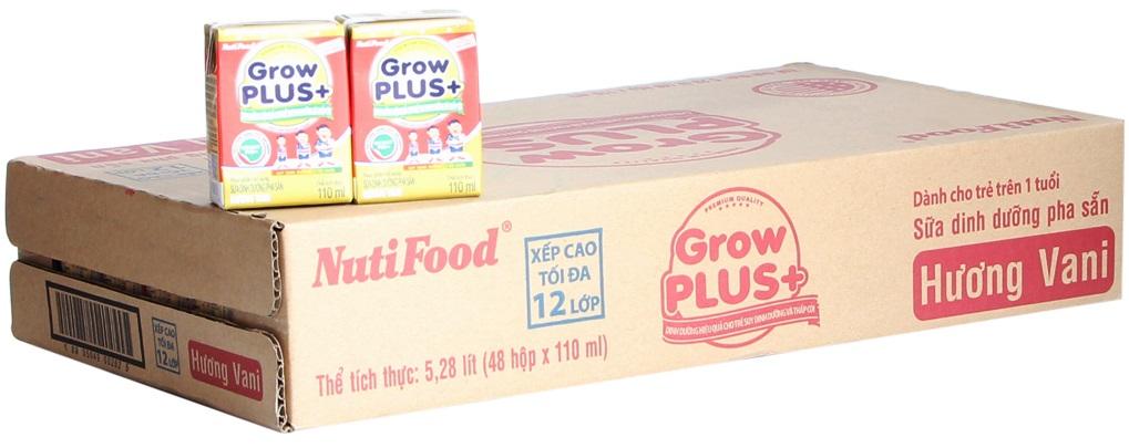 Sữa nguyên chất GrowPlus+ hương Vani 110ml( thùng 48 hộp)