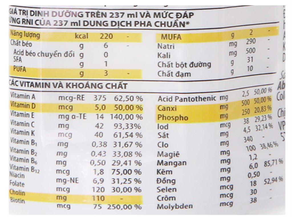 Thùng 24 chai sữa bột pha sẵn Ensure Gold Vigor vani 237ml 5
