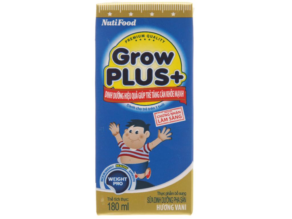 Sữa bột pha sẵn NutiFood Grow Plus+ vani hộp 180ml 3