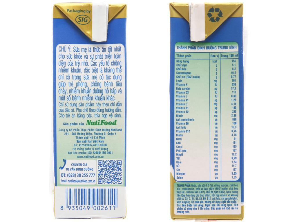Sữa bột pha sẵn NutiFood Grow Plus+ vani hộp 180ml 5