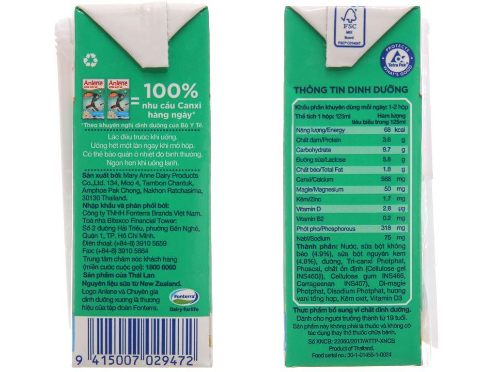 Lốc 4 hộp sữa bột pha sẵn Anlene Đậm đặc 4X vani 125ml 3