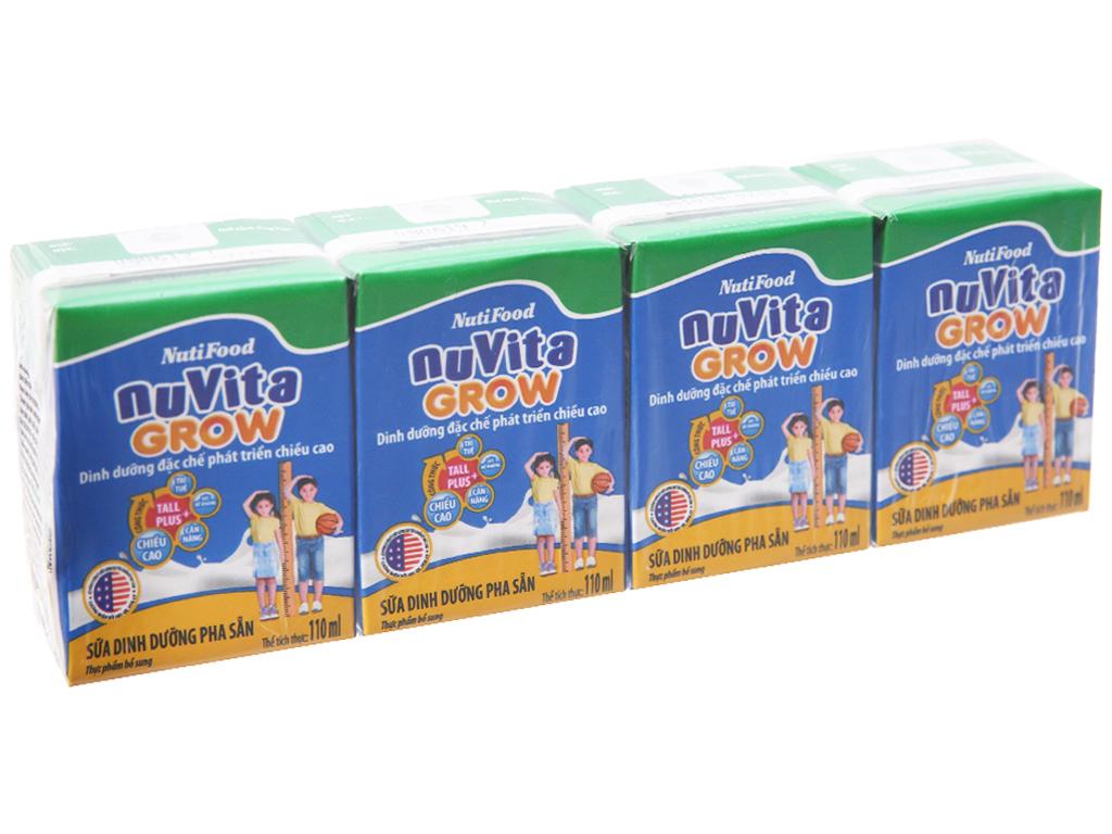 Lốc 4 hộp sữa dinh dưỡng pha sẵn NutiFood Nuvita Grow 110ml 2