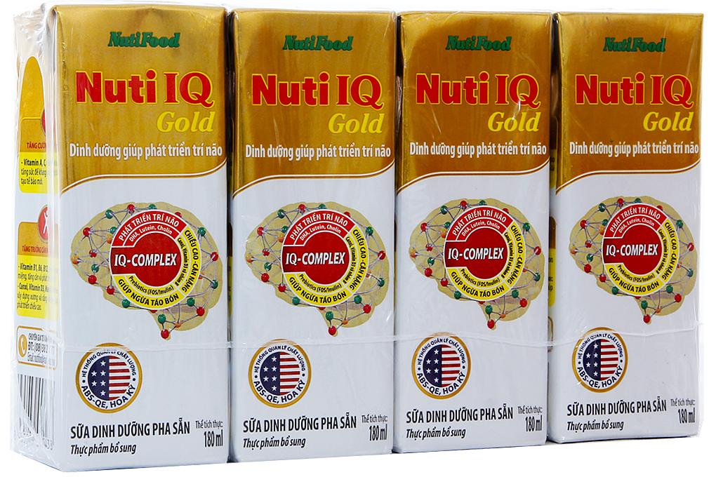 Lốc 4 hộp sữa dinh dưỡng pha sẵn NutiFood Nuti IQ Gold 180ml 2