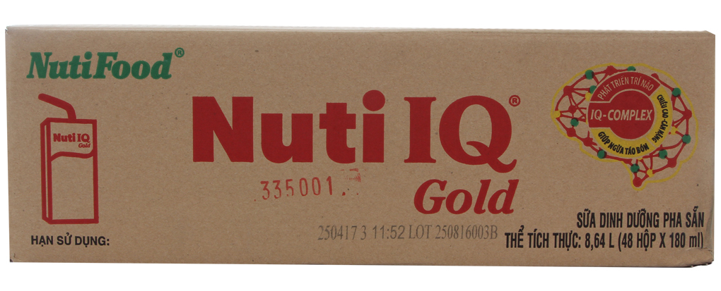 Sữa bột pha sẵn Nuti IQ Gold hộp 180ml (thùng 48 hộp)