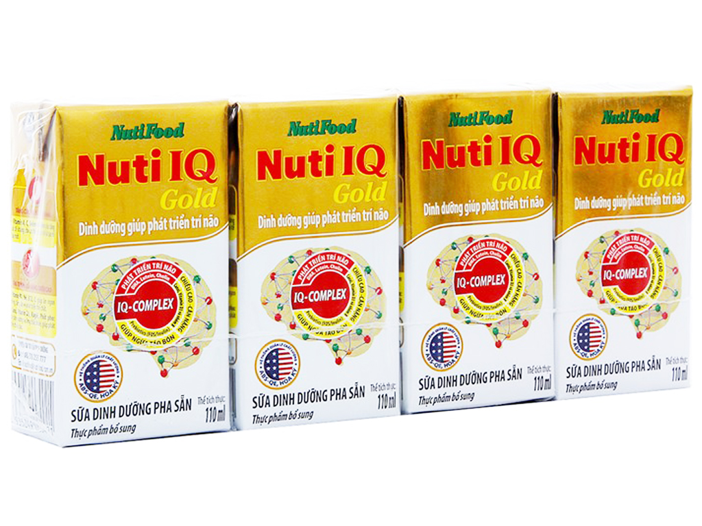 Lốc 4 hộp sữa bột pha sẵn NutiFood Nuti IQ Gold 110ml 1