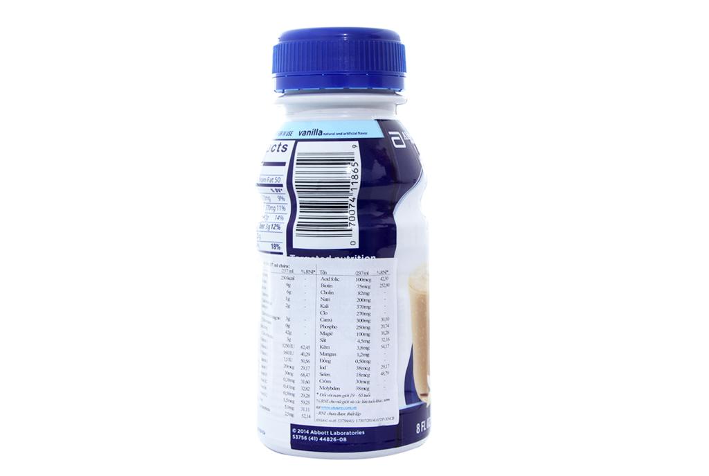 Lốc 6 chai sữa bột pha sẵn Ensure Original vani 237ml 4