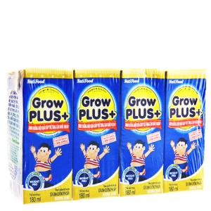 Lốc 4 hộp sữa bột pha sẵn NutiFood Grow Plus + tăng cân khỏe mạnh vani 180ml