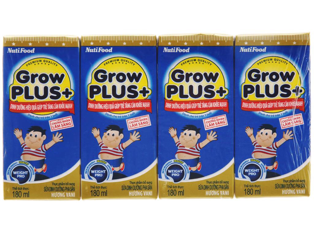 Lốc 4 hộp sữa bột pha sẵn NutiFood Grow Plus + tăng cân khỏe mạnh vani 180ml 2