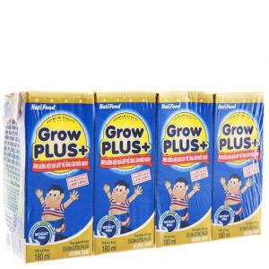 Lốc 4 hộp sữa bột pha sẵn NutiFood Grow Plus+ vani 180ml