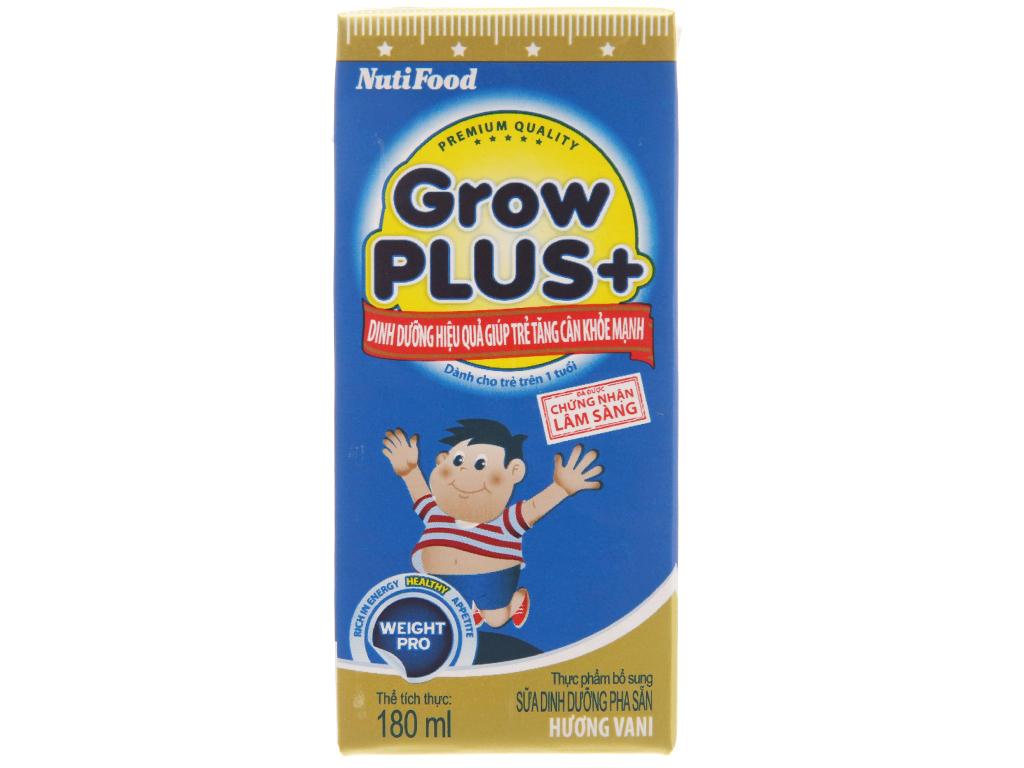Lốc 4 hộp sữa bột pha sẵn NutiFood Grow Plus + tăng cân khỏe mạnh vani 180ml 3
