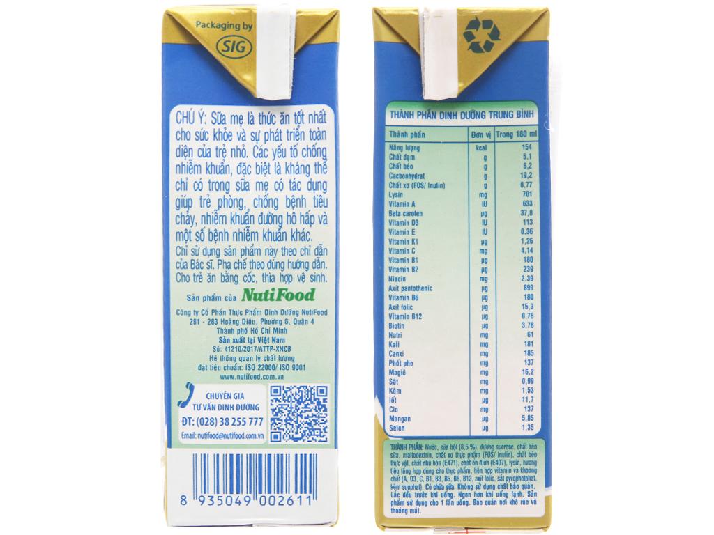 Lốc 4 hộp sữa bột pha sẵn NutiFood Grow Plus + tăng cân khỏe mạnh vani 180ml 5