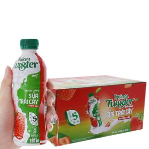 24 chai sữa trái cây Twister hương dâu 290ml