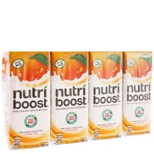 4 hộp sữa trái cây Nutriboost hương cam 180ml