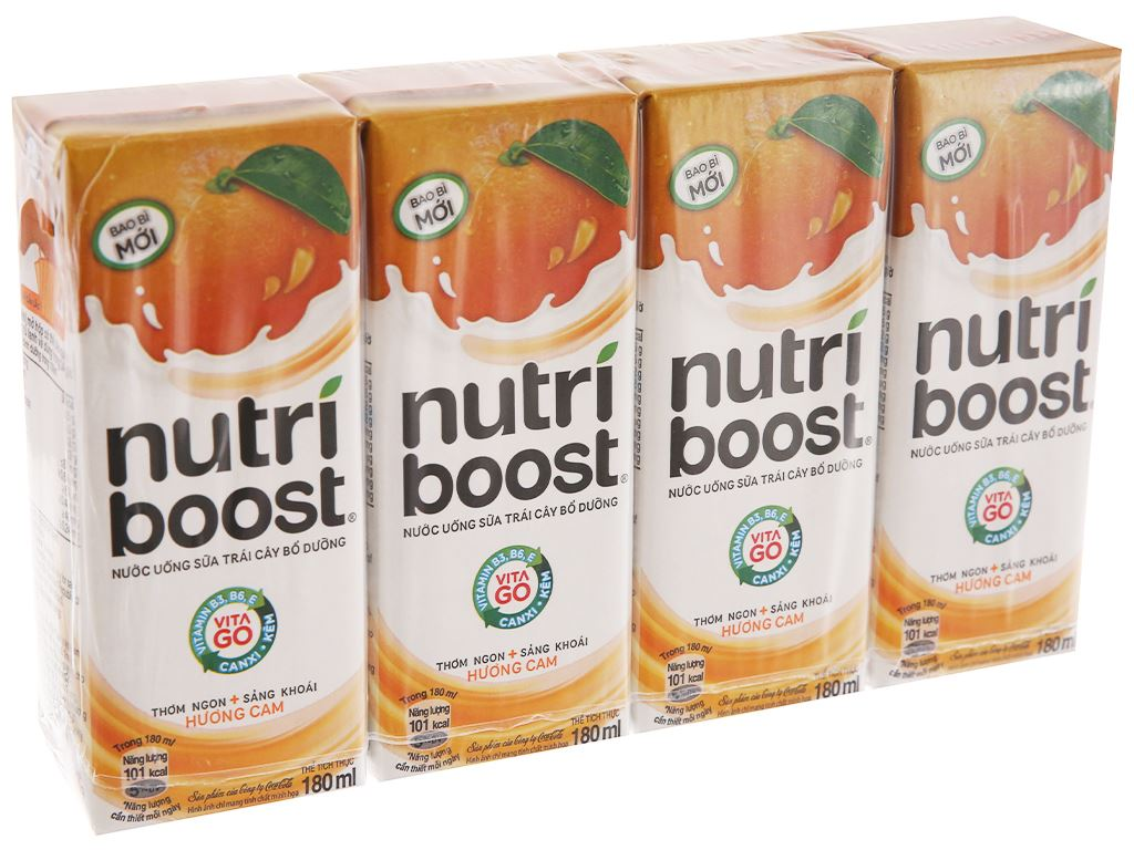 Lốc 4 hộp sữa trái cây Nutriboost hương cam 180ml 2