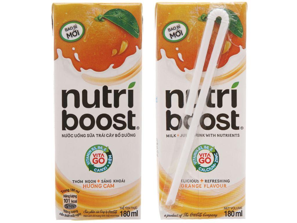 Lốc 4 hộp sữa trái cây Nutriboost hương cam 180ml 3