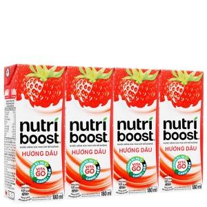 Lốc 4 hộp sữa trái cây Nutriboost hương dâu 180ml