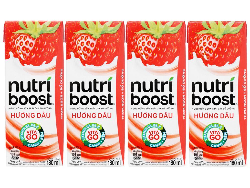 Lốc 4 hộp sữa trái cây Nutriboost hương dâu 180ml 2