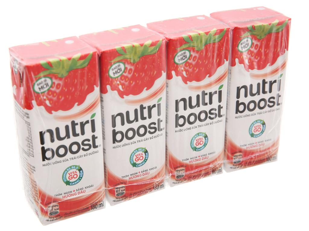 4 hộp sữa trái cây Nutriboost hương dâu 180ml 2
