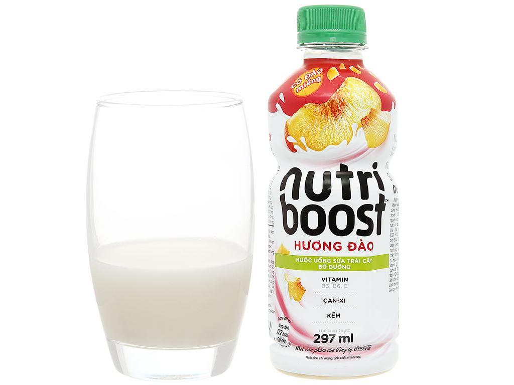 Lốc 6 chai sữa trái cây có đào miếng Nutriboost Bits 297ml 8