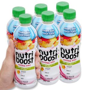 Lốc 6 chai sữa trái cây có đào miếng Nutriboost Bits 297ml