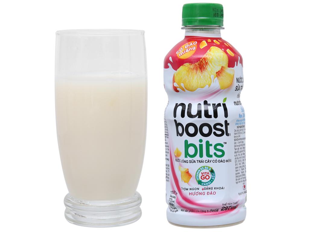 6 chai sữa trái cây Nutriboost có đào miếng 297ml 5